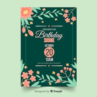 花のフレームの誕生日の招待状のテンプレート