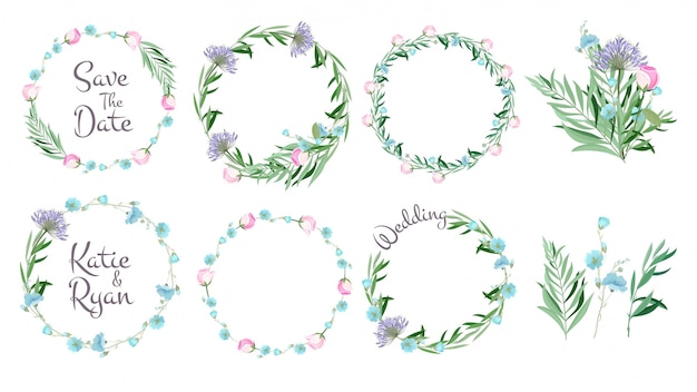 Floral frames, circle shapes with flowers branches decorative elements simple leaf greeting cards layout wreath set