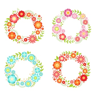 Floral frames in circle shapes with place for your text