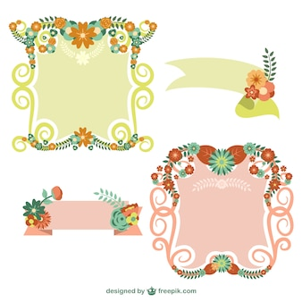 Floral frames and ribbons