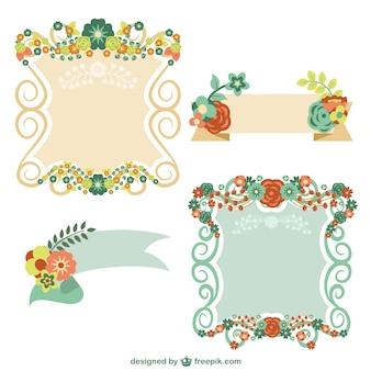 Elementi grafici floreali set gratuito