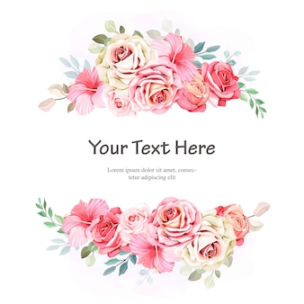 Floral frames with beautiful watercolor leaves template