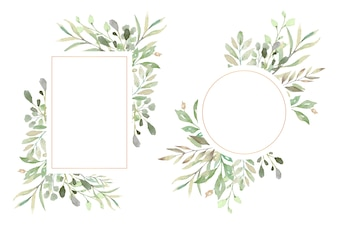 Floral Frames with Beautiful Watercolor Leaves