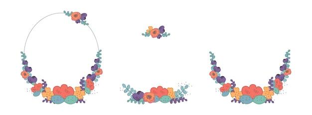 꽃 프레임 화환은 귀여운 복고풍 꽃과 함께 나뭇잎과 텍스트 벡터 평면 그림을 위한 장소입니다.
