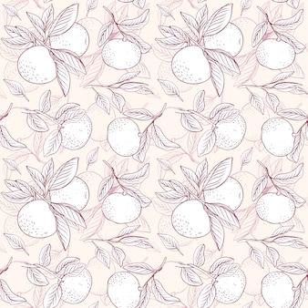 フルーツの花柄。ブランチとみかんからのパターン。テキスタイルの背景