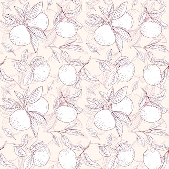 Floral fruit pattern. pattern from mandarins with brunches. background for textile