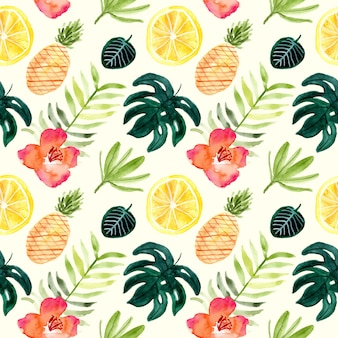 Floral and fruit tropical summer watercolor seamless pattern