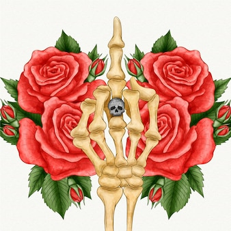 Floral fuck you symbol with skeleton hand