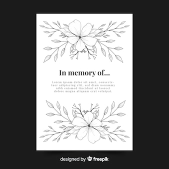 Floral funeral card template