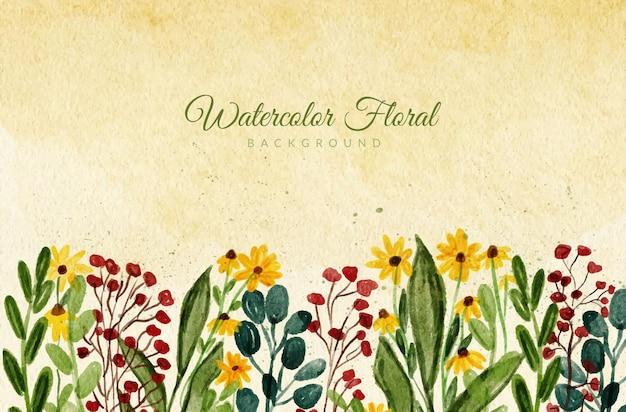 水彩画の手描きの花の庭の背景