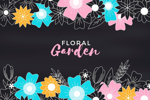 Floral garden blackboard background with flowers
