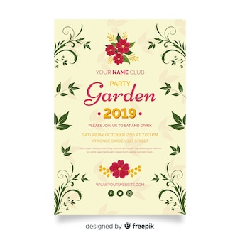 Floral garden party poster