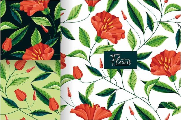花の庭のシームレスなパターンコレクション