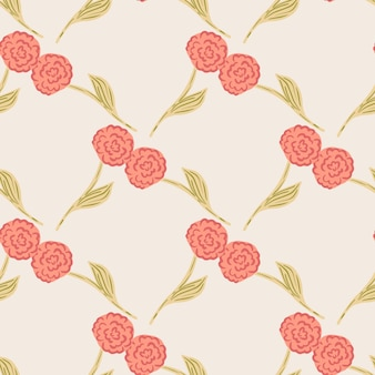 Floral garden seamless pattern with red roses silhouettes. pastel pink background. stock illustration. vector design for textile, fabric, giftwrap, wallpapers.