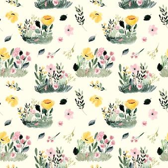 Floral garden watercolor seamless pattern.