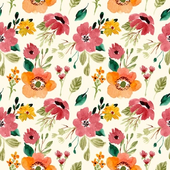 Floral garden watercolor seamless pattern