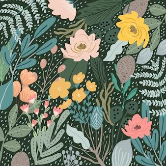 暗い背景と花の庭