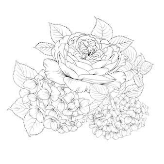 수국과 장미의 꽃 화환.