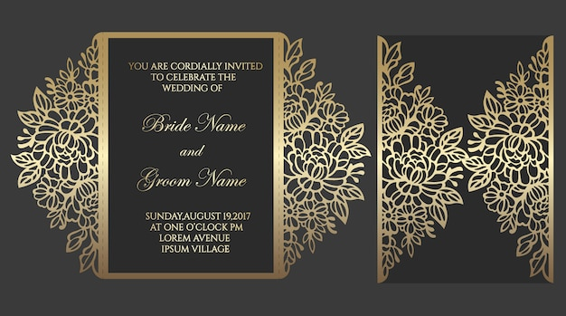Floral gate fold laser cut wedding invitation card template. template for cutting. design for laser cut or die cut template. ornamental wedding invite mockup.