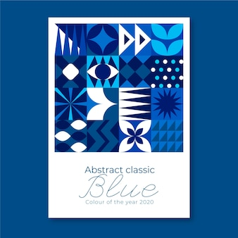 Floral geometric classic blue shapes flyer