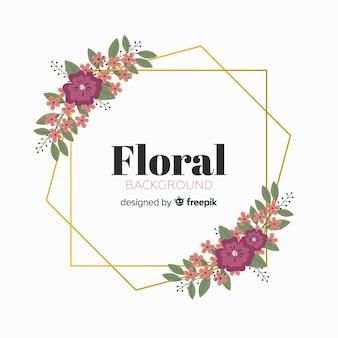 Sfondo floreale cornice geometrica