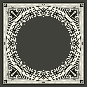 Floral and geometric monogram frame on dark gray background. monogram design element.