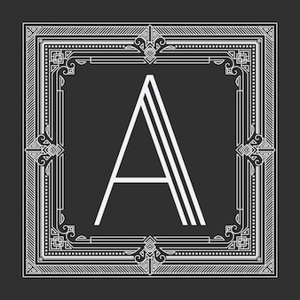 Floral and geometric monogram frame on dark gray background