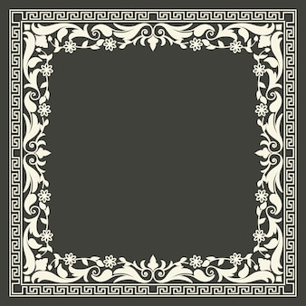 Floral and geometric monogram frame
