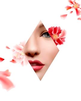 Floral and geometric shape frame of model face