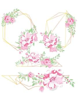 花の幾何学的なベクトルのデザインフレーム。ピンクのアジサイ、ピンクのバラ、椿、ユーカリ、緑の花束。春の結婚式の花。ゴールドラインバナー。すべての要素が分離され、編集可能