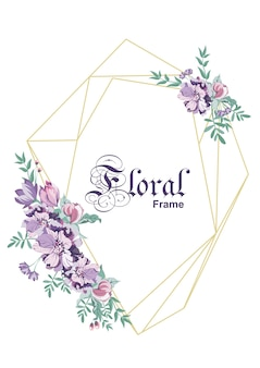 Цветочная рамка геометрического дизайна. свадебная открытка. стиль арт-деко. золотая линия искусства. все элементы изолированы и доступны для редактирования.