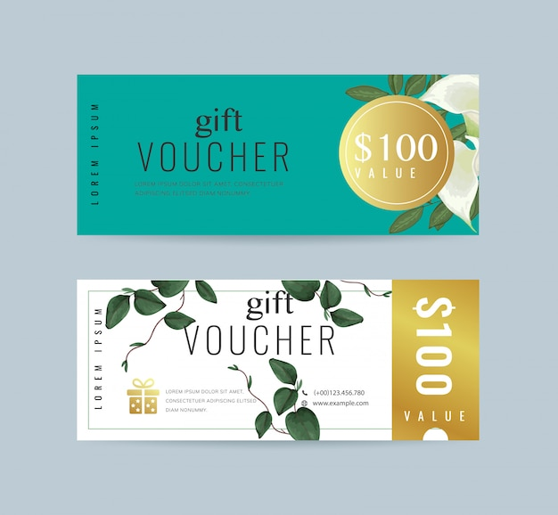 Floral gift voucher template