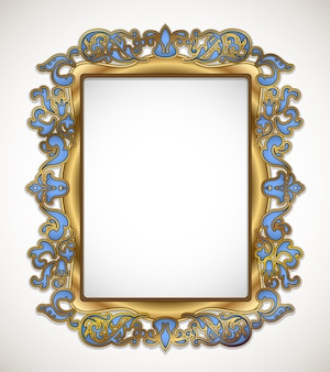 Floral gold and blue frame on white