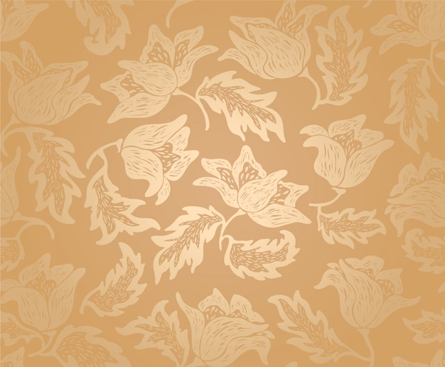 Floral gold flowers background