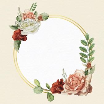 Floral gold frame on beige background