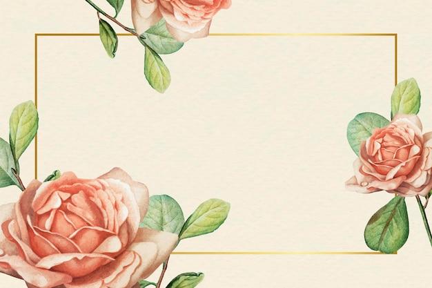 ベージュの背景ベクトルに花の金フレーム