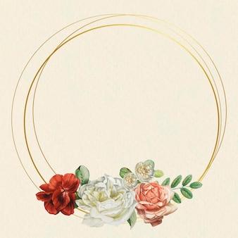ベージュの背景に花のゴールド フレーム