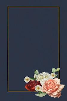 파란색 배경에 꽃 골드 프레임