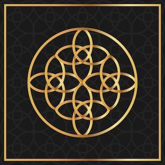 Floral gold symbol on a black background