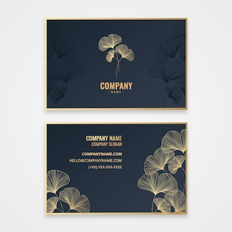 Floral golden business card template