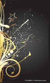 Floral golden card vector