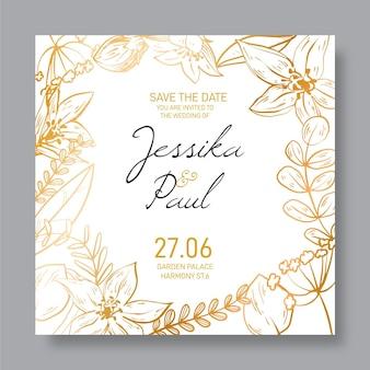 花の黄金の詳細な結婚式の招待状のテンプレート