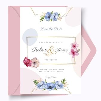 花のゴールデンフレームのウェディングカード