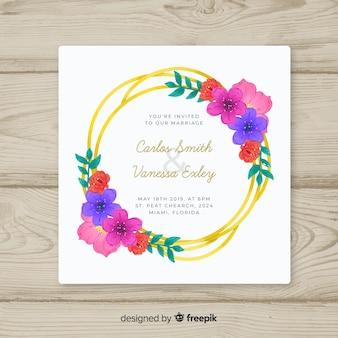 Floral golden frame wedding invitation