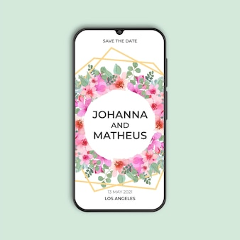 Floral and golden geometric wedding invitation for smarthphone