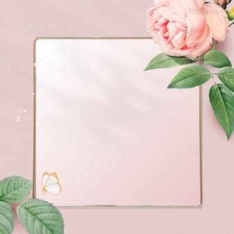 Floral golden square frame