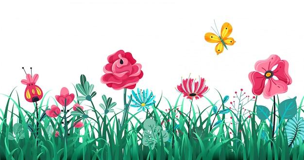 花草の境界線。緑の花のスプリングフィールド、夏の草原の自然、パノラマハーブマクロ要素の概念