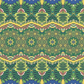 Floral green ethnic tribal festive pattern for fabric
