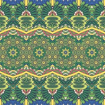 生地のための花の緑の民族部族のお祝いのパターン