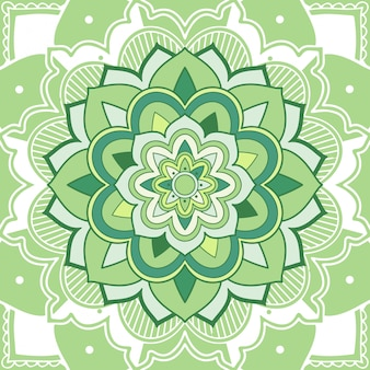 Floral green mandala on white